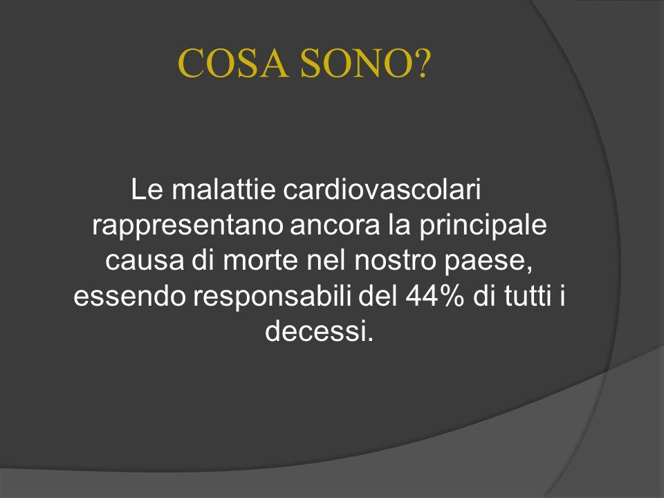 COSA SONO? Le malattie cardiovascolari rappresentano ancora la principale causa di morte nel nostro paese, essendo responsabili del 44% di tutti i dec