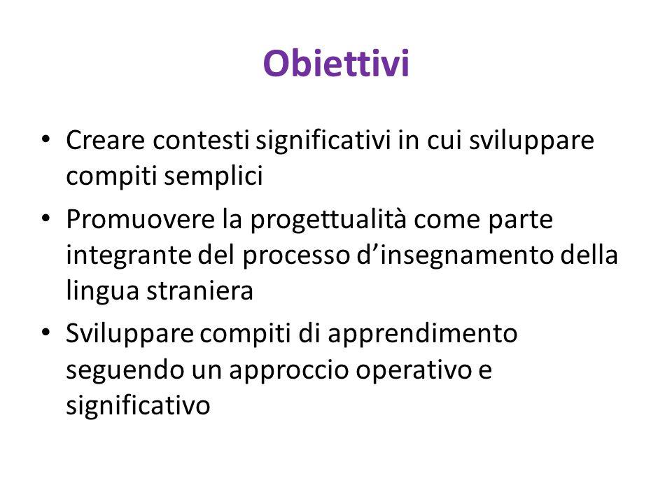 Obiettivi Creare contesti significativi in cui sviluppare compiti semplici Promuovere la progettualità come parte integrante del processo d'insegnamen