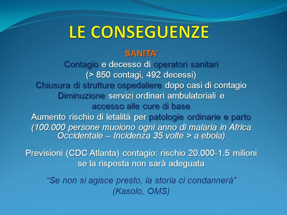SANITA' Contagio e decesso di operatori sanitari (> 850 contagi, 492 decessi) Chiusura di strutture ospedaliere dopo casi di contagio Diminuzione serv