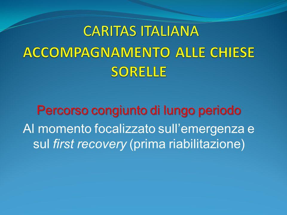 Percorso congiunto di lungo periodo Al momento focalizzato sull'emergenza e sul first recovery (prima riabilitazione) CARITAS ITALIANA