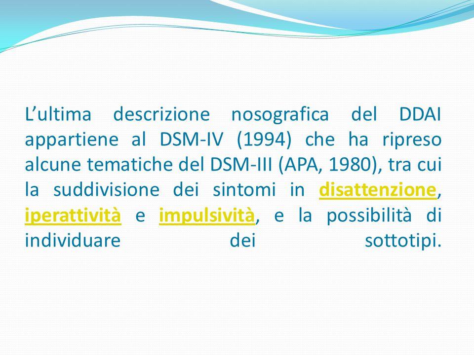L'ultima descrizione nosografica del DDAI appartiene al DSM-IV (1994) che ha ripreso alcune tematiche del DSM-III (APA, 1980), tra cui la suddivisione dei sintomi in disattenzione, iperattività e impulsività, e la possibilità di individuare dei sottotipi.disattenzione iperattivitàimpulsività