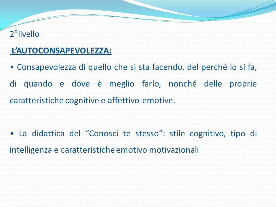 2°livello L'AUTOCONSAPEVOLEZZA: Consapevolezza di quello che si sta facendo, del perché lo si fa, di quando e dove è meglio farlo, nonché delle proprie caratteristiche cognitive e affettivo-emotive.