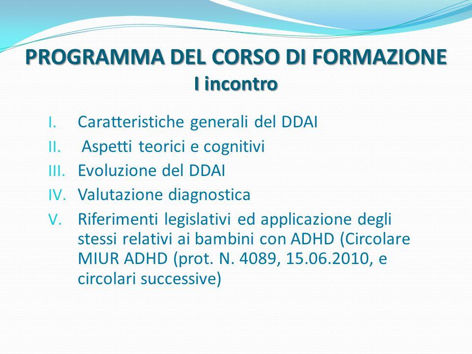 PROGRAMMA DEL CORSO DI FORMAZIONE II incontro Il lavoro educativo-didattico con il bambino DDAI: il ruolo della famiglia e della scuola
