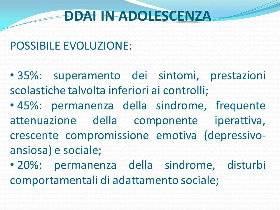 DDAI IN ADOLESCENZA POSSIBILE EVOLUZIONE: 35%: superamento dei sintomi, prestazioni scolastiche talvolta inferiori ai controlli; 45%: permanenza della sindrome, frequente attenuazione della componente iperattiva, crescente compromissione emotiva (depressivo- ansiosa) e sociale; 20%: permanenza della sindrome, disturbi comportamentali di adattamento sociale;
