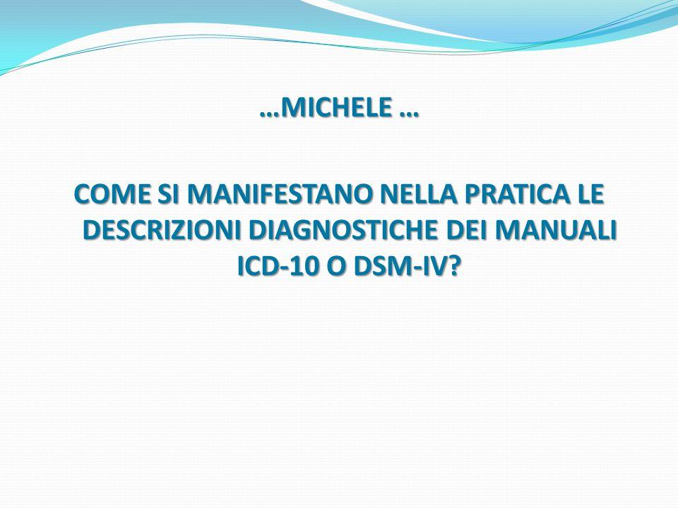 …MICHELE … COME SI MANIFESTANO NELLA PRATICA LE DESCRIZIONI DIAGNOSTICHE DEI MANUALI ICD-10 O DSM-IV?