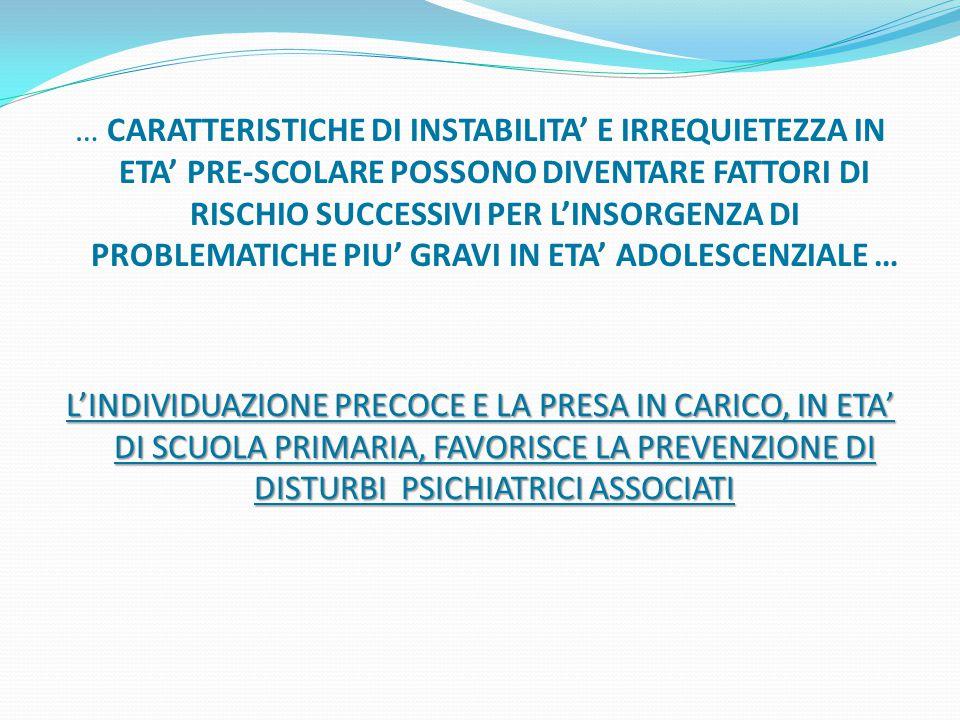 … CARATTERISTICHE DI INSTABILITA' E IRREQUIETEZZA IN ETA' PRE-SCOLARE POSSONO DIVENTARE FATTORI DI RISCHIO SUCCESSIVI PER L'INSORGENZA DI PROBLEMATICHE PIU' GRAVI IN ETA' ADOLESCENZIALE … L'INDIVIDUAZIONE PRECOCE E LA PRESA IN CARICO, IN ETA' DI SCUOLA PRIMARIA, FAVORISCE LA PREVENZIONE DI DISTURBI PSICHIATRICI ASSOCIATI