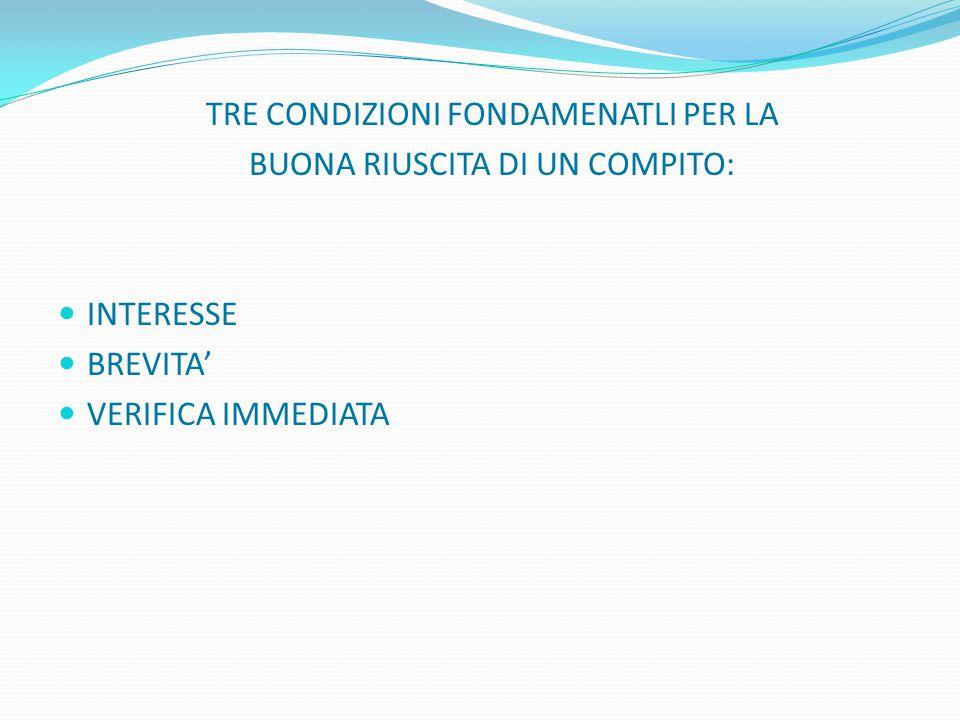 TRE CONDIZIONI FONDAMENATLI PER LA BUONA RIUSCITA DI UN COMPITO: INTERESSE BREVITA' VERIFICA IMMEDIATA