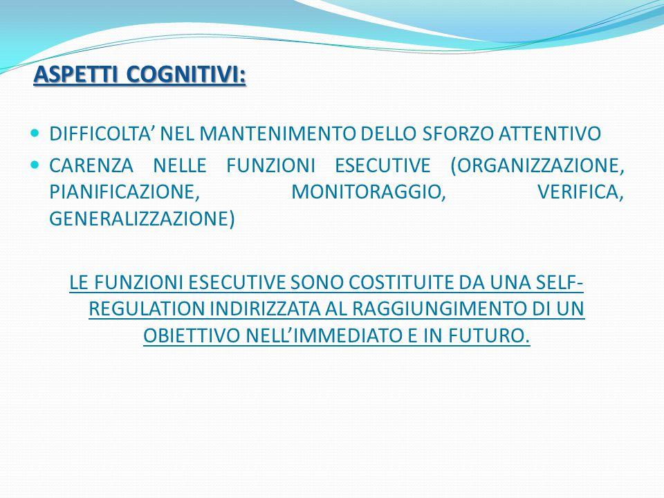 ASPETTI COGNITIVI: DIFFICOLTA' NEL MANTENIMENTO DELLO SFORZO ATTENTIVO CARENZA NELLE FUNZIONI ESECUTIVE (ORGANIZZAZIONE, PIANIFICAZIONE, MONITORAGGIO, VERIFICA, GENERALIZZAZIONE) LE FUNZIONI ESECUTIVE SONO COSTITUITE DA UNA SELF- REGULATION INDIRIZZATA AL RAGGIUNGIMENTO DI UN OBIETTIVO NELL'IMMEDIATO E IN FUTURO.