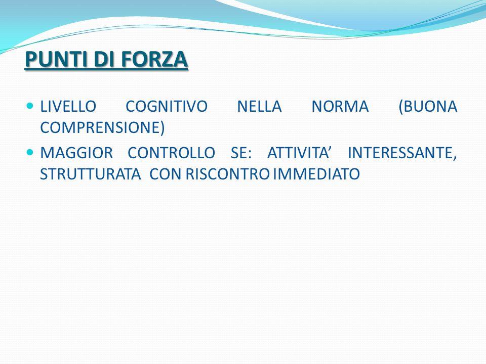 PUNTI DI FORZA LIVELLO COGNITIVO NELLA NORMA (BUONA COMPRENSIONE) MAGGIOR CONTROLLO SE: ATTIVITA' INTERESSANTE, STRUTTURATA CON RISCONTRO IMMEDIATO