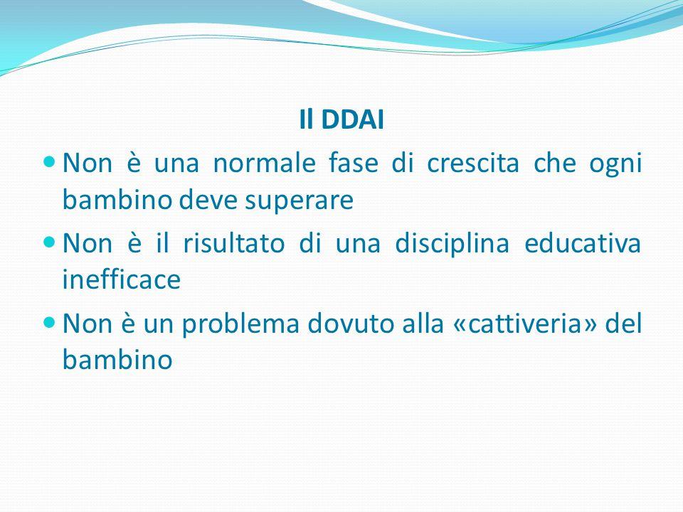 Il DDAI Non è una normale fase di crescita che ogni bambino deve superare Non è il risultato di una disciplina educativa inefficace Non è un problema dovuto alla «cattiveria» del bambino