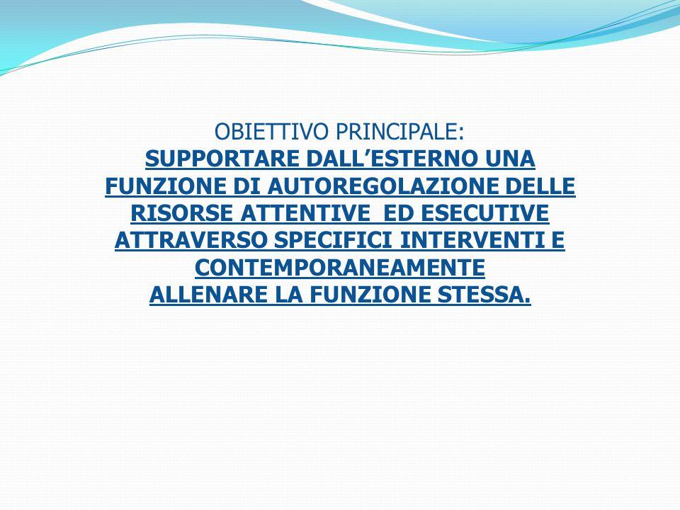OBIETTIVO PRINCIPALE: SUPPORTARE DALL'ESTERNO UNA FUNZIONE DI AUTOREGOLAZIONE DELLE RISORSE ATTENTIVE ED ESECUTIVE ATTRAVERSO SPECIFICI INTERVENTI E CONTEMPORANEAMENTE ALLENARE LA FUNZIONE STESSA.
