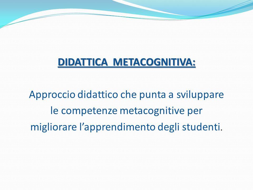 DIDATTICA METACOGNITIVA: Approccio didattico che punta a sviluppare le competenze metacognitive per migliorare l'apprendimento degli studenti.