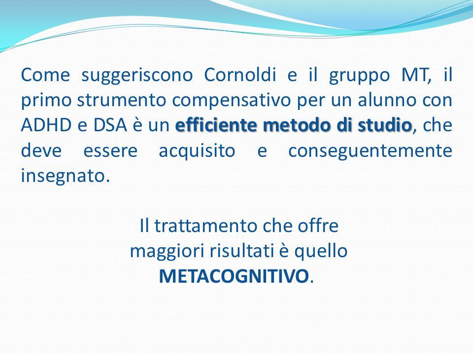 efficiente metodo di studio Come suggeriscono Cornoldi e il gruppo MT, il primo strumento compensativo per un alunno con ADHD e DSA è un efficiente metodo di studio, che deve essere acquisito e conseguentemente insegnato.