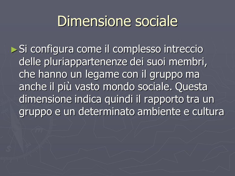 Dimensione sociale ► Si configura come il complesso intreccio delle pluriappartenenze dei suoi membri, che hanno un legame con il gruppo ma anche il p