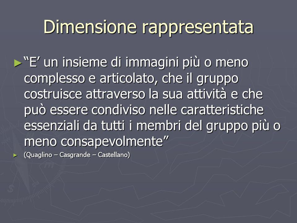 """Dimensione rappresentata ► """"E' un insieme di immagini più o meno complesso e articolato, che il gruppo costruisce attraverso la sua attività e che può"""