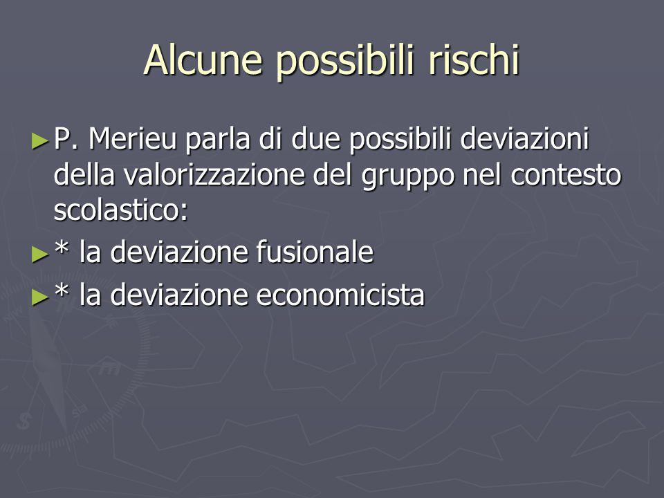 Alcune possibili rischi ► P. Merieu parla di due possibili deviazioni della valorizzazione del gruppo nel contesto scolastico: ► * la deviazione fusio