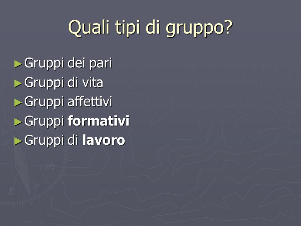 Quali tipi di gruppo? ► Gruppi dei pari ► Gruppi di vita ► Gruppi affettivi ► Gruppi formativi ► Gruppi di lavoro