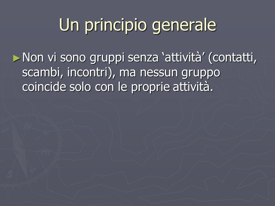 Un principio generale ► Non vi sono gruppi senza 'attività' (contatti, scambi, incontri), ma nessun gruppo coincide solo con le proprie attività.
