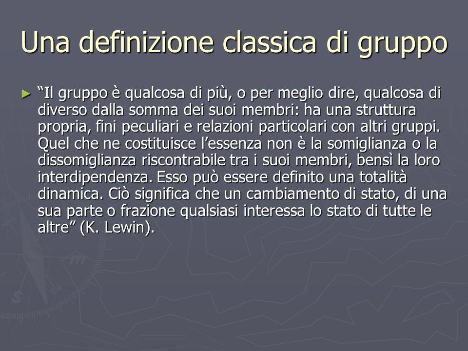 Elementi di dinamica di gruppo ► Vi possono essere diversi modi per sistematizzare gli elementi fondamentali che danno continuamente forma al gruppo.