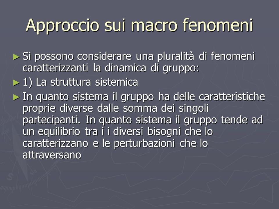 Approccio sui macro fenomeni ► Si possono considerare una pluralità di fenomeni caratterizzanti la dinamica di gruppo: ► 1) La struttura sistemica ► I