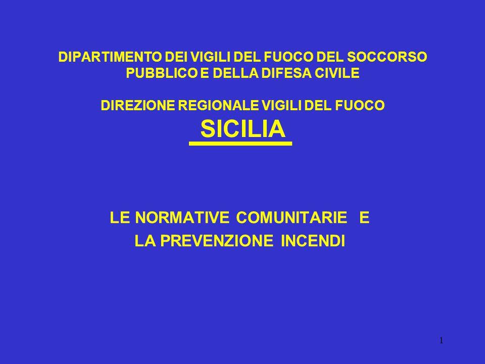 1 DIPARTIMENTO DEI VIGILI DEL FUOCO DEL SOCCORSO PUBBLICO E DELLA DIFESA CIVILE DIREZIONE REGIONALE VIGILI DEL FUOCO SICILIA LE NORMATIVE COMUNITARIE