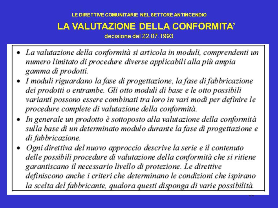 26 LE DIRETTIVE COMUNITARIE NEL SETTORE ANTINCENDIO LA VALUTAZIONE DELLA CONFORMITA' decisione del 22.07.1993