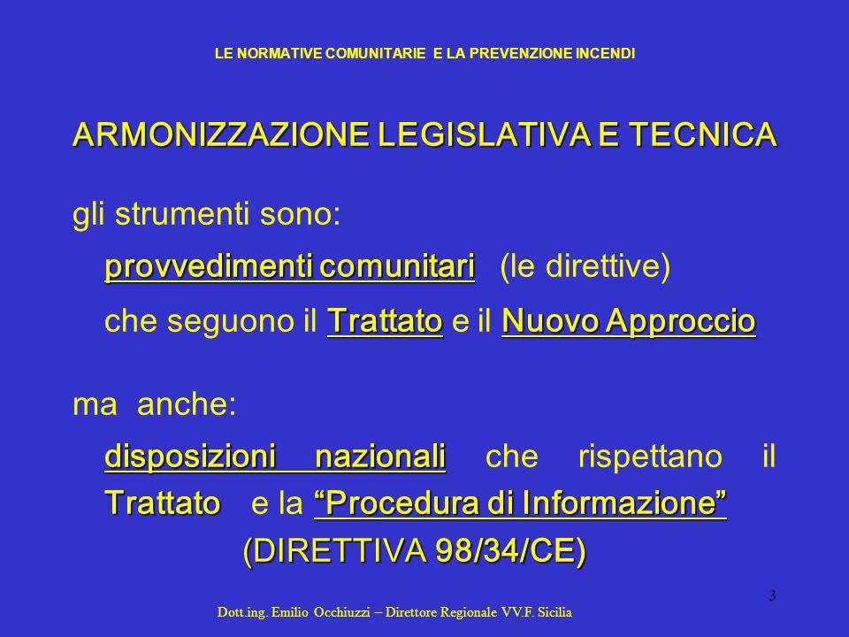 4 LE DIRETTIVE COMUNITARIE NEL SETTORE ANTINCENDIO IL NUOVO APPROCCIO RISOLUZIONE DEL CONSIGLIO N.85/C 136/01 DEL 7.05.1985 DEFINISCE LE NUOVE MODALITÀ DI INTERVENTO DEL LEGISLATORE COMUNITARIO IN CAMPO TECNICO SECONDO 4 PRINCIPI 1) FINALITÀ DELLA DIRETTIVA 2) COMPATIBILITÀ DELLE NORME ALLE CONDIZIONI TECNOLOGICHE E PRODUTTIVE DEL MOMENTO 3) CARATTERE VOLONTARIO DELLE NORME (PER GARANTIRE L'ELASTICITÀ PROCEDURALE) 4) OBBLIGO DEGLI STATI MEMBRI A RICONOSCERE LA PRESUNZIONE DI CORRISPONDENZA AI R.E.S.