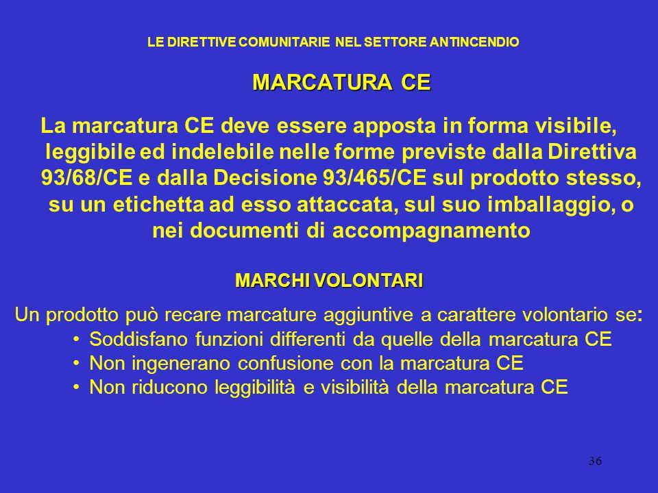 36 LE DIRETTIVE COMUNITARIE NEL SETTORE ANTINCENDIO MARCATURA CE La marcatura CE deve essere apposta in forma visibile, leggibile ed indelebile nelle