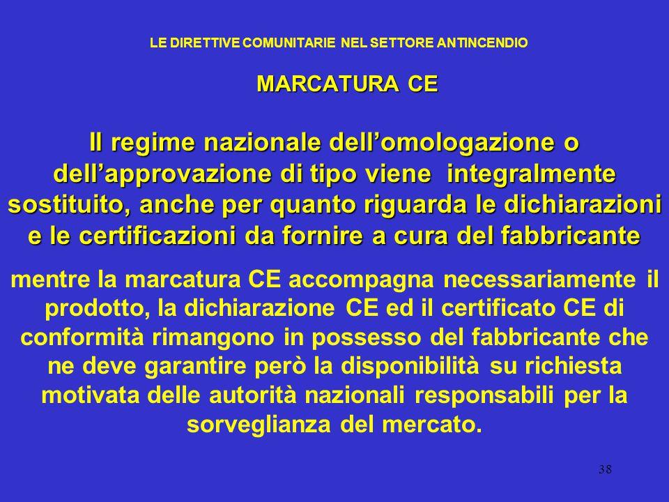 38 LE DIRETTIVE COMUNITARIE NEL SETTORE ANTINCENDIO MARCATURA CE Il regime nazionale dell'omologazione o dell'approvazione di tipo viene integralmente