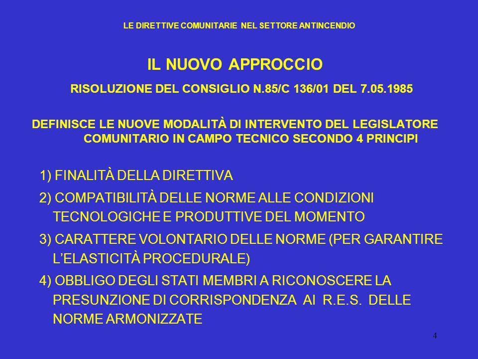 4 LE DIRETTIVE COMUNITARIE NEL SETTORE ANTINCENDIO IL NUOVO APPROCCIO RISOLUZIONE DEL CONSIGLIO N.85/C 136/01 DEL 7.05.1985 DEFINISCE LE NUOVE MODALIT