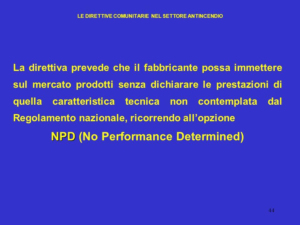 44 LE DIRETTIVE COMUNITARIE NEL SETTORE ANTINCENDIO La direttiva prevede che il fabbricante possa immettere sul mercato prodotti senza dichiarare le p