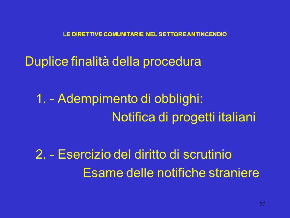 50 LE DIRETTIVE COMUNITARIE NEL SETTORE ANTINCENDIO Duplice finalità della procedura 1. - Adempimento di obblighi: Notifica di progetti italiani 2. -