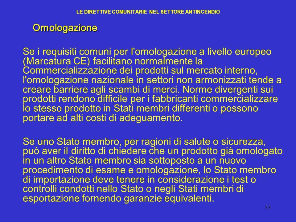 53 LE DIRETTIVE COMUNITARIE NEL SETTORE ANTINCENDIOOmologazione Se i requisiti comuni per l'omologazione a livello europeo (Marcatura CE) facilitano n