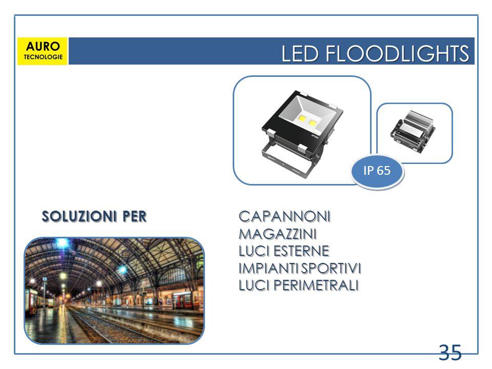 LED FLOODLIGHTS IP 65 SOLUZIONI PER CAPANNONI MAGAZZINI LUCI ESTERNE IMPIANTI SPORTIVI LUCI PERIMETRALI 35