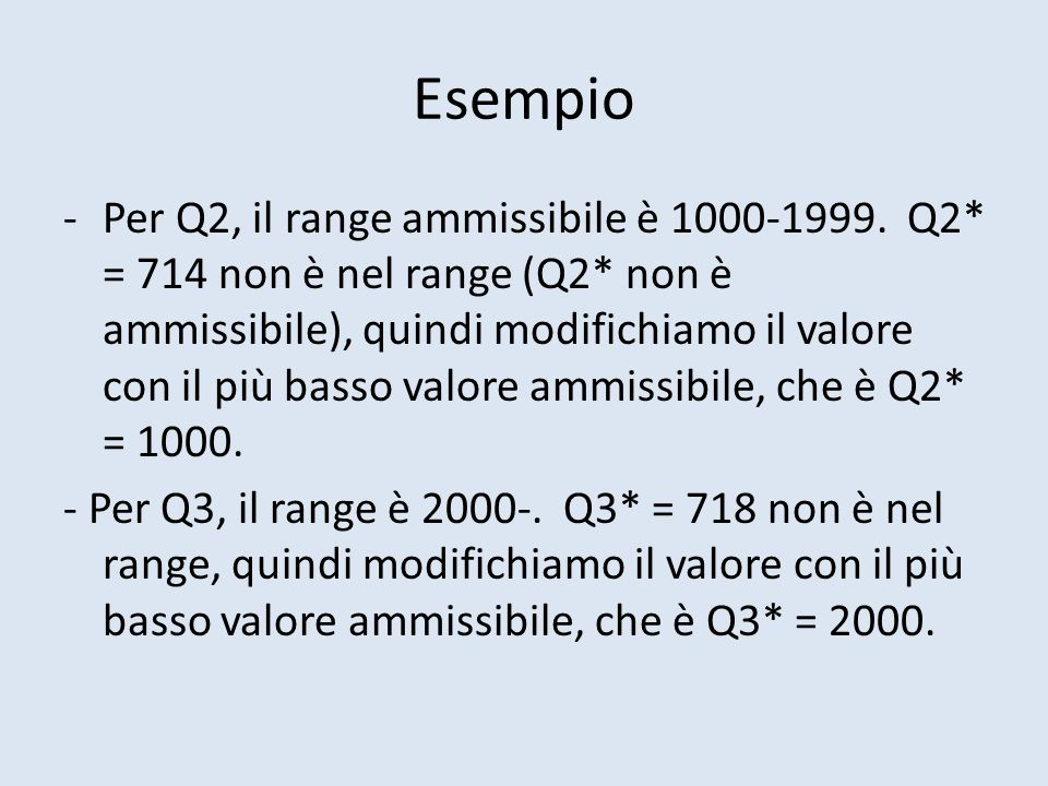 Esempio -Per Q2, il range ammissibile è 1000-1999.