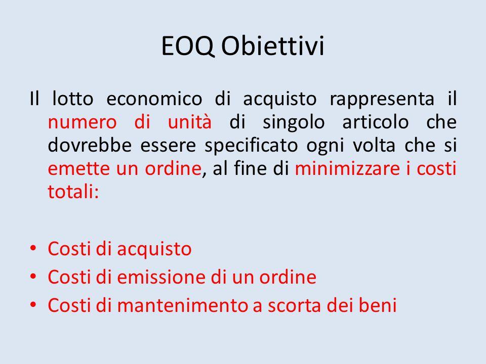 EOQ Obiettivi Il lotto economico di acquisto rappresenta il numero di unità di singolo articolo che dovrebbe essere specificato ogni volta che si emette un ordine, al fine di minimizzare i costi totali: Costi di acquisto Costi di emissione di un ordine Costi di mantenimento a scorta dei beni