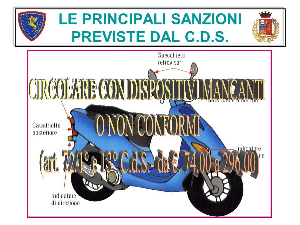 LE PRINCIPALI SANZIONI PREVISTE DAL C.D.S.