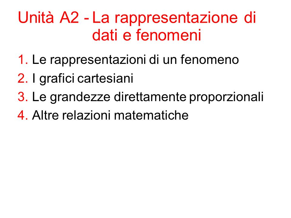 Unità A2 -La rappresentazione di dati e fenomeni 1.Le rappresentazioni di un fenomeno 2.I grafici cartesiani 3.Le grandezze direttamente proporzionali