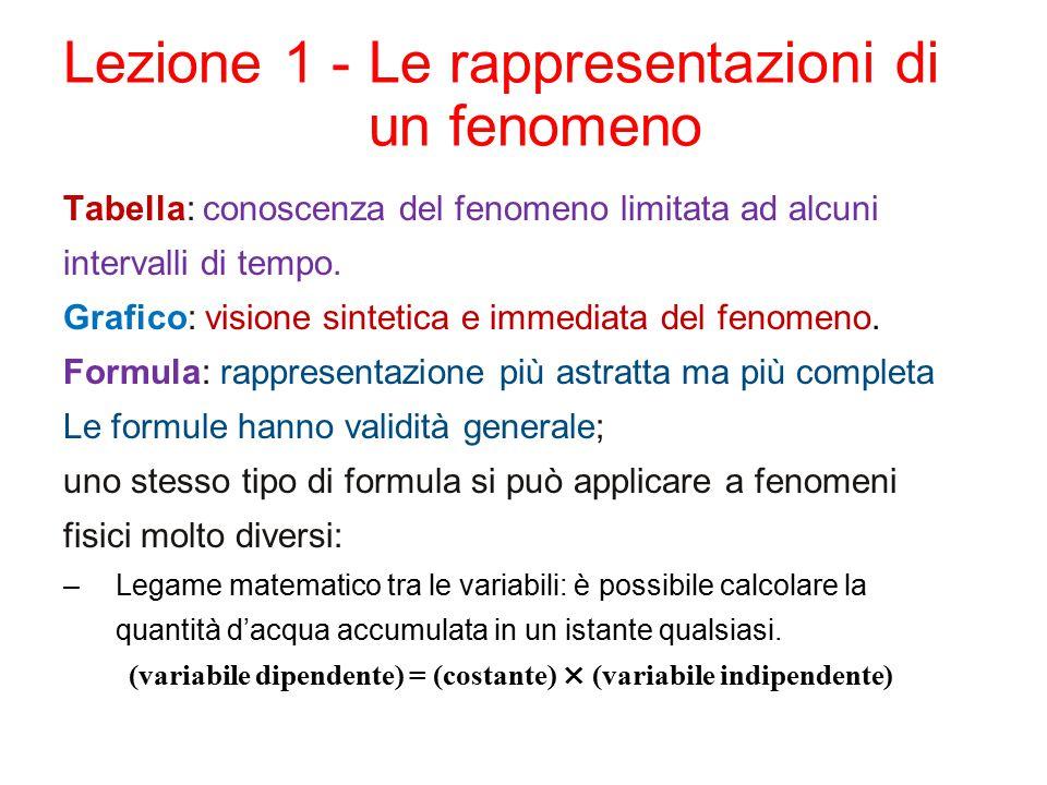 Lezione 1 -Le rappresentazioni di un fenomeno Tabella: conoscenza del fenomeno limitata ad alcuni intervalli di tempo.