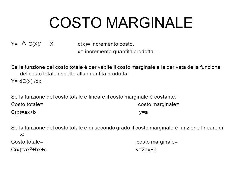COSTO MARGINALE Y= C(X)/ X c(x)= incremento costo.