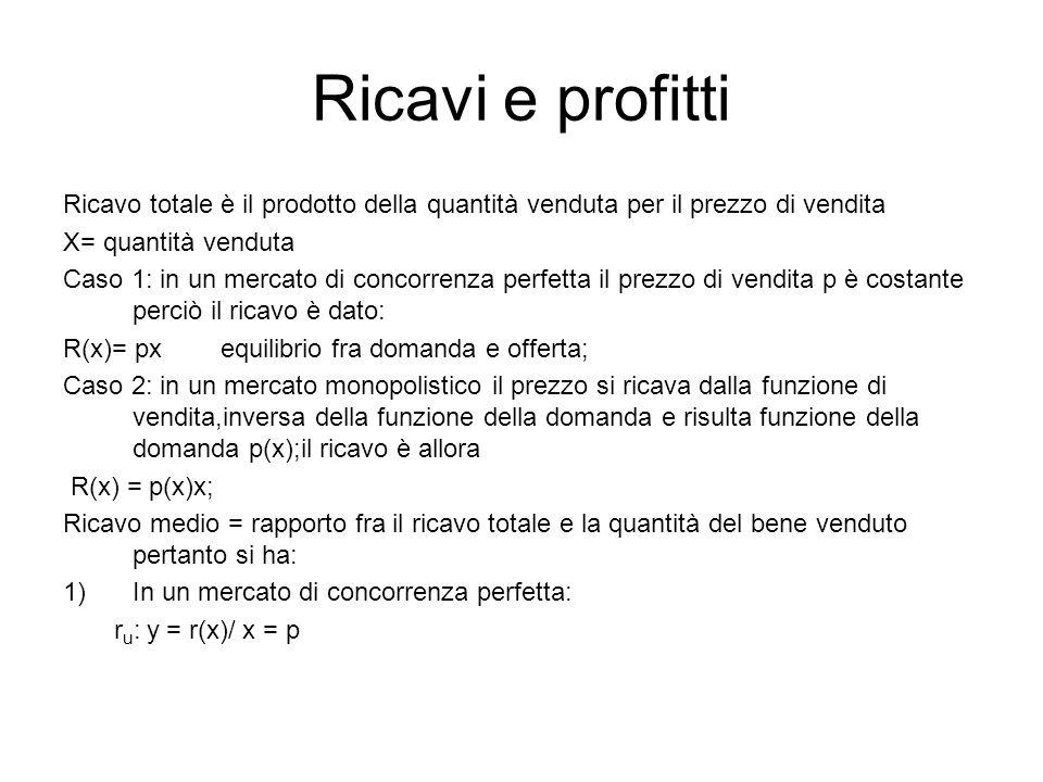Ricavi e profitti Ricavo totale è il prodotto della quantità venduta per il prezzo di vendita X= quantità venduta Caso 1: in un mercato di concorrenza perfetta il prezzo di vendita p è costante perciò il ricavo è dato: R(x)= px equilibrio fra domanda e offerta; Caso 2: in un mercato monopolistico il prezzo si ricava dalla funzione di vendita,inversa della funzione della domanda e risulta funzione della domanda p(x);il ricavo è allora R(x) = p(x)x; Ricavo medio = rapporto fra il ricavo totale e la quantità del bene venduto pertanto si ha: 1)In un mercato di concorrenza perfetta: r u : y = r(x)/ x = p