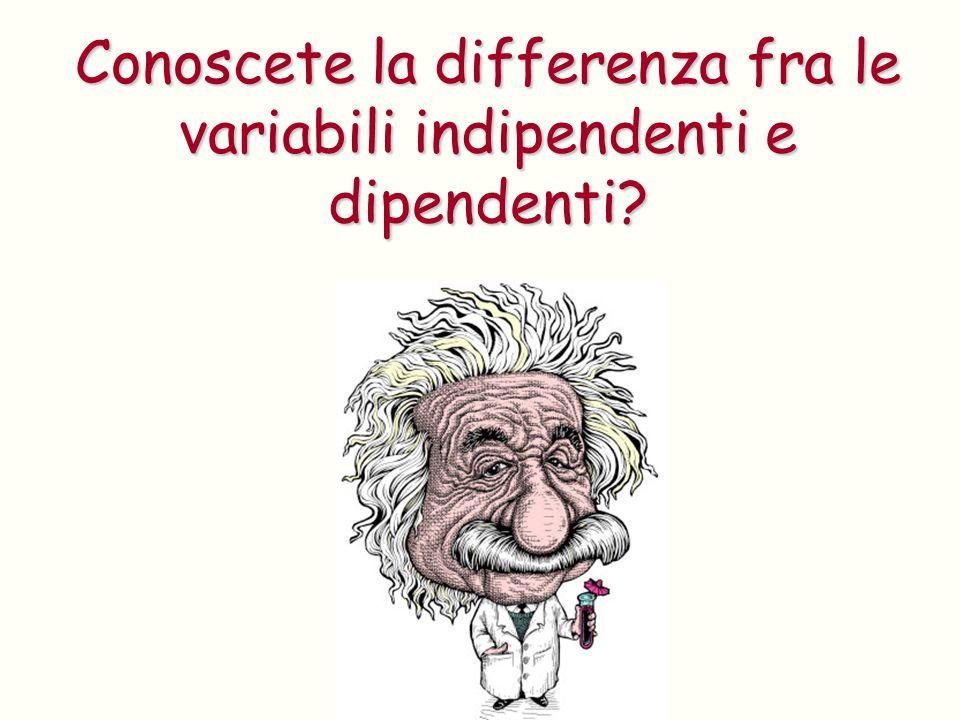 Conoscete la differenza fra le variabili indipendenti e dipendenti?