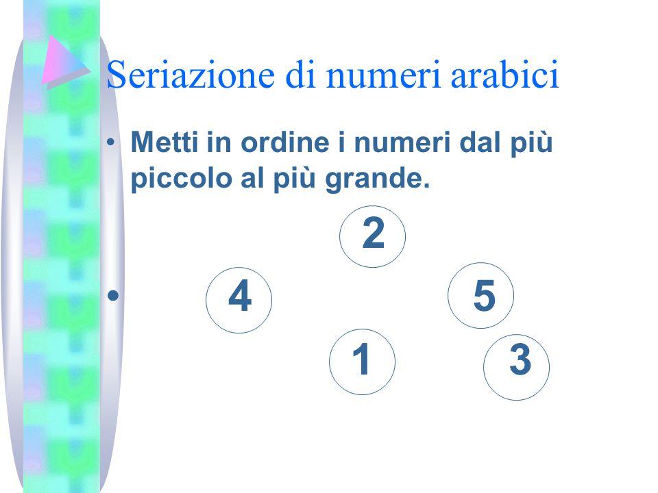 Seriazione di numeri arabici Metti in ordine i numeri dal più piccolo al più grande. 2 4 5 1 3