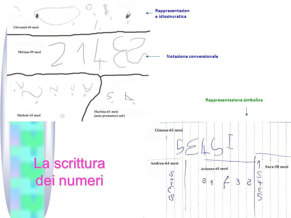 I)ntellgenza numerica La scrittura dei numeri Rappresentazion e idiosincratica Notazione convenzionale Rappresentazione simbolica