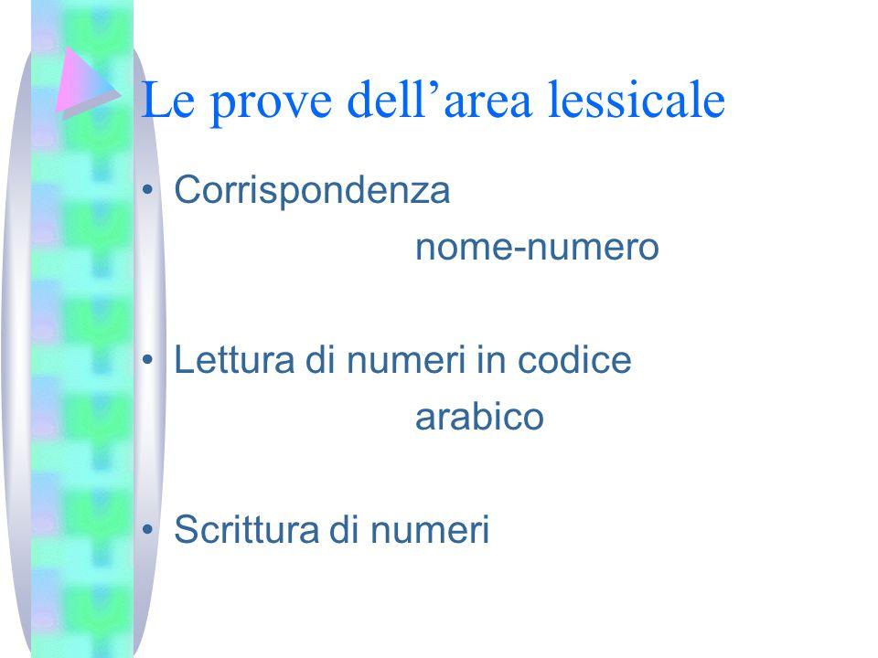 Le prove dell'area lessicale Corrispondenza nome-numero Lettura di numeri in codice arabico Scrittura di numeri