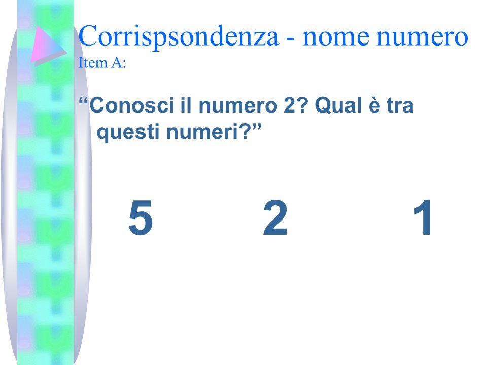Corrispsondenza - nome numero Item A: Conosci il numero 2 Qual è tra questi numeri 5 2 1
