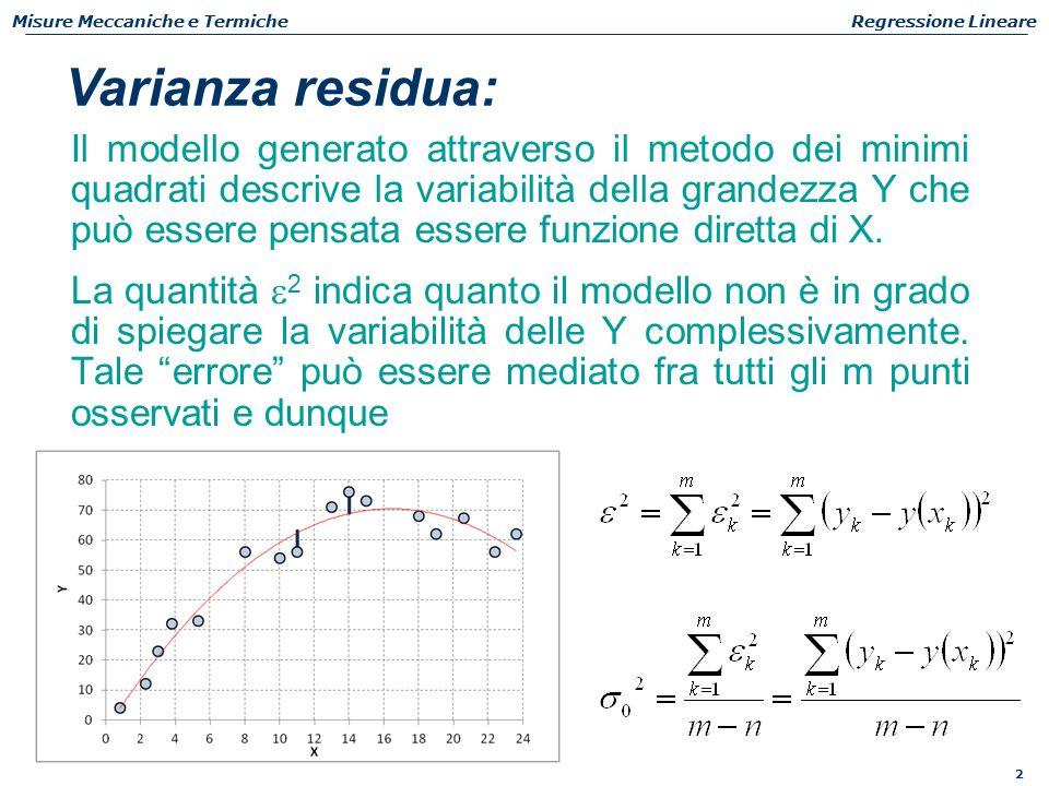 2 Misure Meccaniche e TermicheRegressione Lineare La quantità  2 indica quanto il modello non è in grado di spiegare la variabilità delle Y complessivamente.