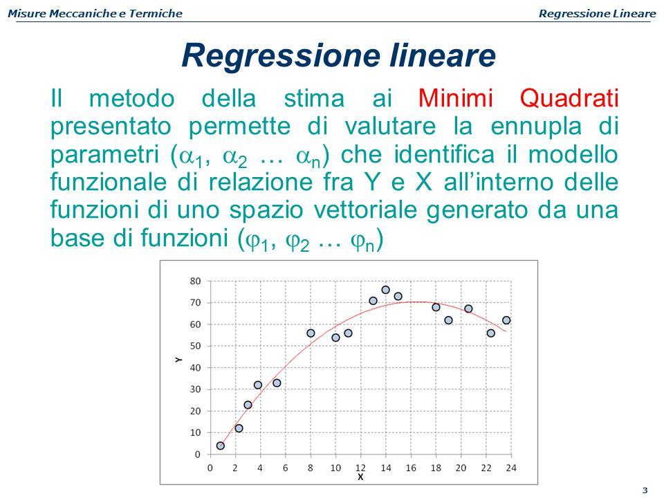 3 Misure Meccaniche e TermicheRegressione Lineare Il metodo della stima ai Minimi Quadrati presentato permette di valutare la ennupla di parametri (  1,  2 …  n ) che identifica il modello funzionale di relazione fra Y e X all'interno delle funzioni di uno spazio vettoriale generato da una base di funzioni (  1,  2 …  n ) Regressione lineare