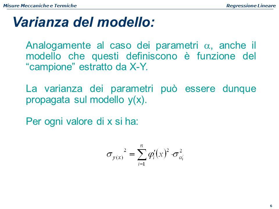 6 Misure Meccaniche e TermicheRegressione Lineare Analogamente al caso dei parametri , anche il modello che questi definiscono è funzione del campione estratto da X-Y.