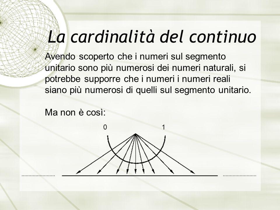La cardinalità del continuo Avendo scoperto che i numeri sul segmento unitario sono più numerosi dei numeri naturali, si potrebbe supporre che i numeri i numeri reali siano più numerosi di quelli sul segmento unitario.